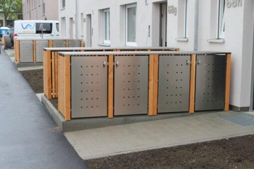 4er Mülltonnenbox Lärche Edelstahltür Flachdach