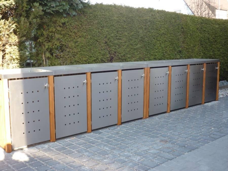 8er Mülltonnenbox Lärche Edelstahltür Pflanzdach