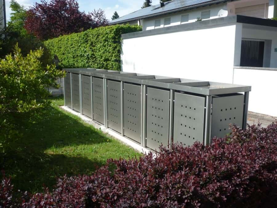 8er Mülltonnenbox Edelstahl Pflanzdach Rundpfosten