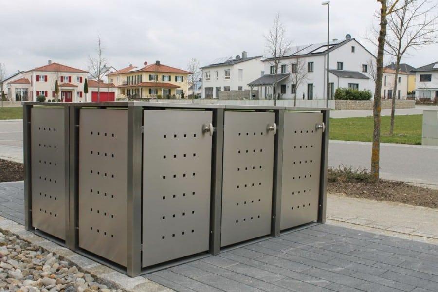 3er Mülltonennbox Edelstahl Vierkantpfosten Block seitlich