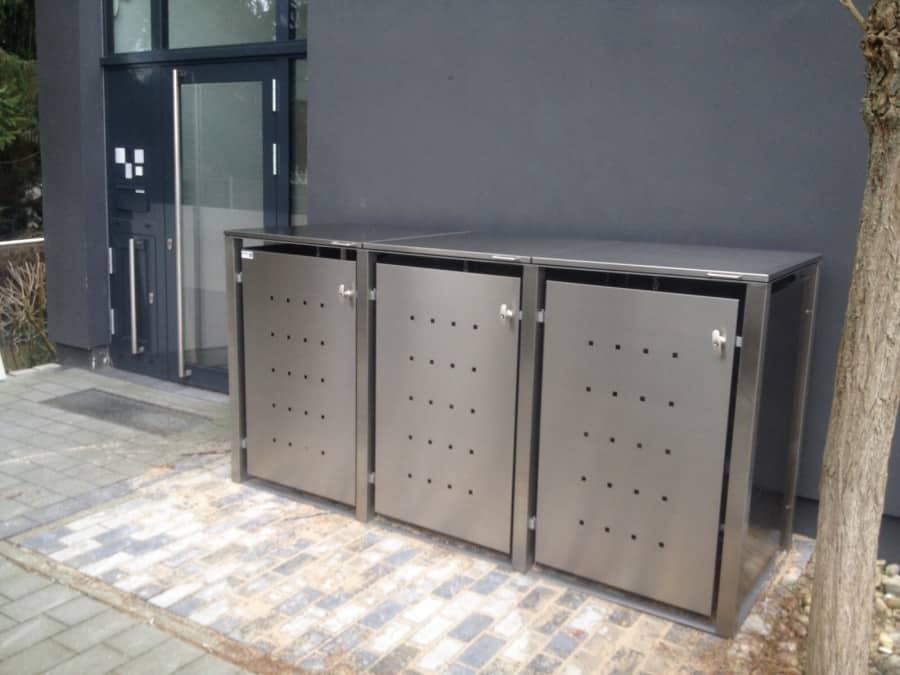 Abstellflächen für Mülltonnenbox Edelstahl mit Flachdach