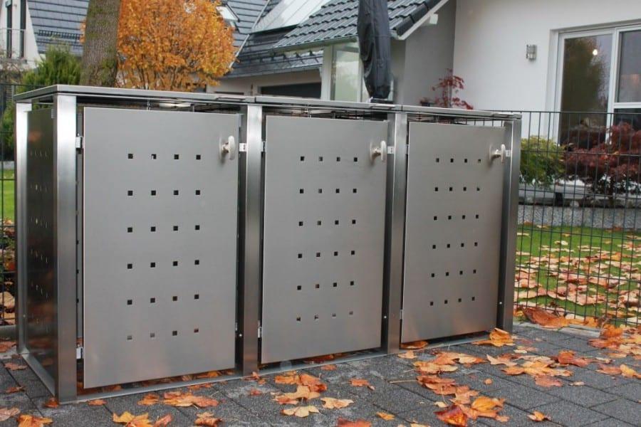 Mülltonennbox Edelstahl Vierkantpfosten Flachdach