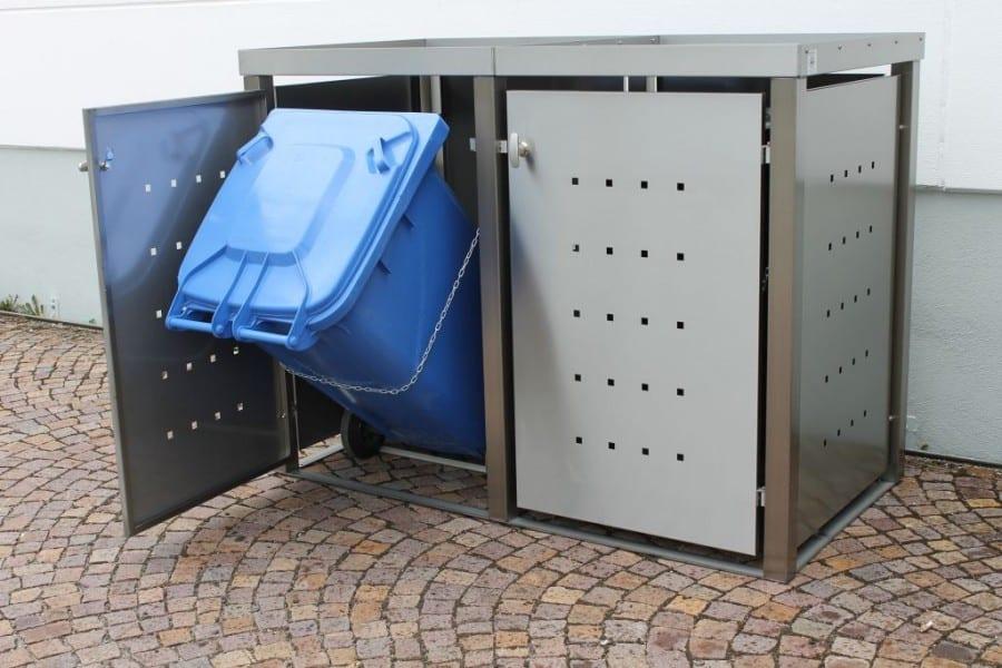 Mülltonnenbox Edelstahl Vierkantpfosten Pflanzdach Kippvorrichtung