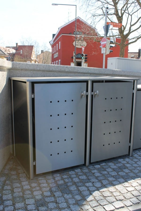 Mülltonnenbox Edelstahl Rundpfosten Flachdach