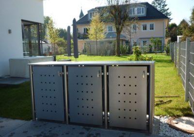 3er Mülltonnenbox Edelstahl Rundpfosten Pflanzdach