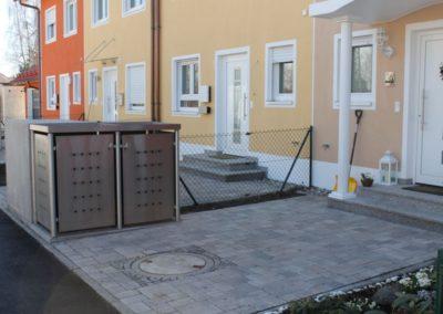 Mülltonnenbox Edelstahl Rundpfosten Pflanzdach