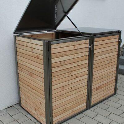 Mülltonnenbox Holz horizontal Klappdach