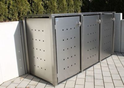3er Müllcontainer Edelstahl