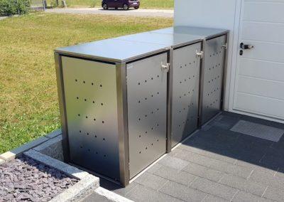 3er Müllcontainer Edelstahl Klappdach