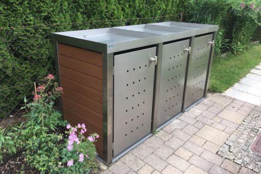 3er Mülltonnenbox Edelstahl Kunststoff braun