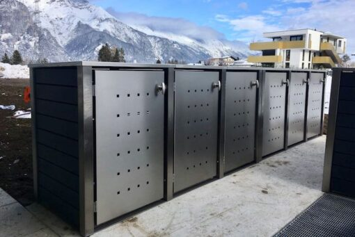 6er Mülltonnenbox Edelstahl Kunststoff grau