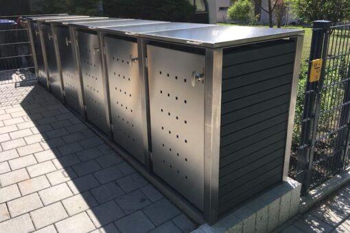 6er Mülltonnenbox Edelstahl Kunststoff grau Klappdach