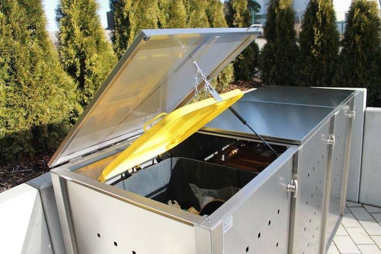 Müllcontainer Edelstahl Klappdach