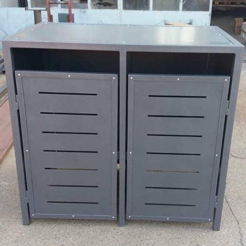2er Mülltonnenbox Metall anthrazit Flachdach