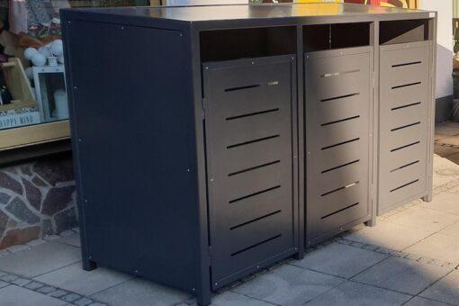 3er Mülltonnenbox Metall mit Flachdach in anthrazit