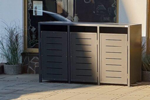 3er Mülltonnenbox Metall anthrazit waagrechte Schlitze