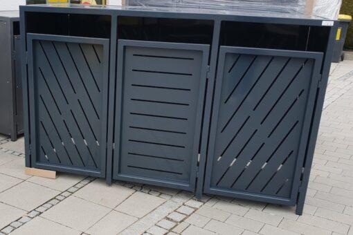 3er Mülltonnenbox Metall anthrazit und Flachdach