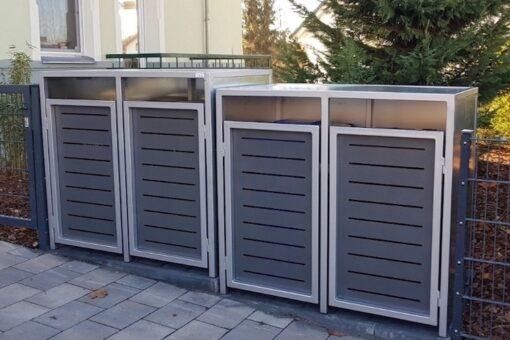 2er Mülltonnenbox Flachdach waagrecht