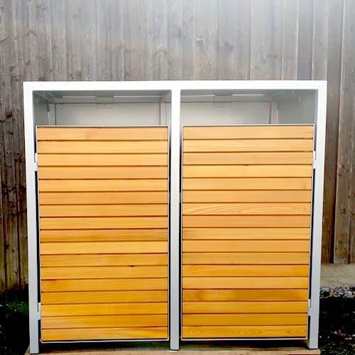 2er Mülltonnenbox Lärche Flachdach
