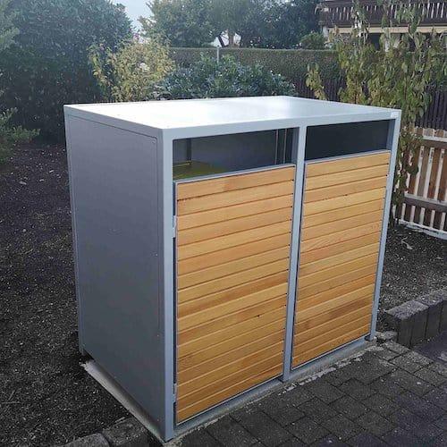 2er Mülltonnenbox Metall Lärche Flachdach