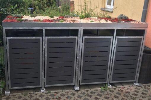 2er Mülltonnenbox verzinkt und Pflanzdach