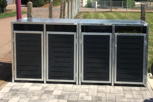 3er Mülltonnenbox Flachdach verzinkt und anthrazit