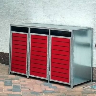 3er Mülltonnenbox verzinkt mit Flachdach