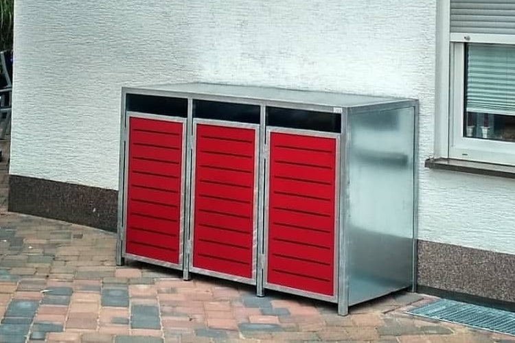 Mülltonnenbox Metall verzinkt mit Flachdach