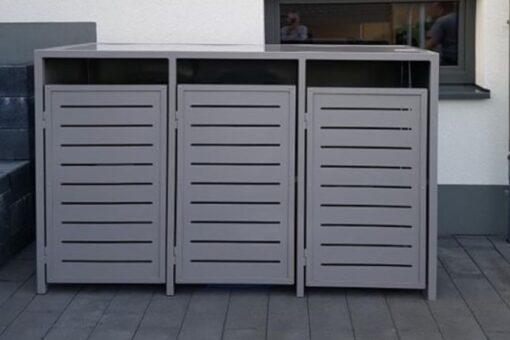 3er Mülltonnenbox L-Profil anthrazit Flachdach waagrecht