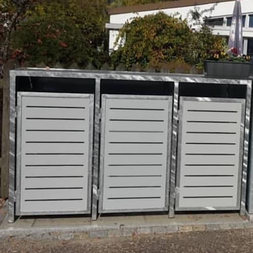 3er Mülltonnenbox Metall verzinkt Flachdach