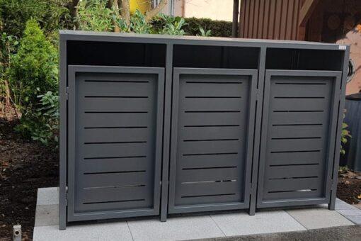 3er Mülltonnenbox Metall Vierkant Flachdach