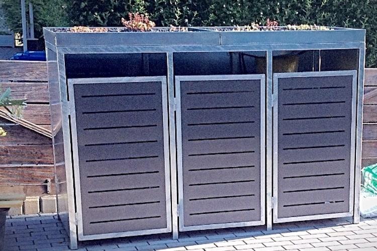 3er Mülltonnenbox verzinkt mit Pflanzdach
