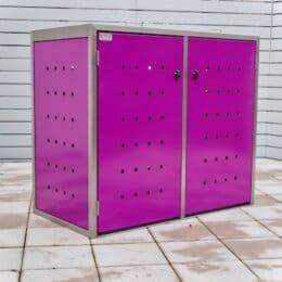 2er Mülltonnenbox Edelstahl ECO-MAX pink