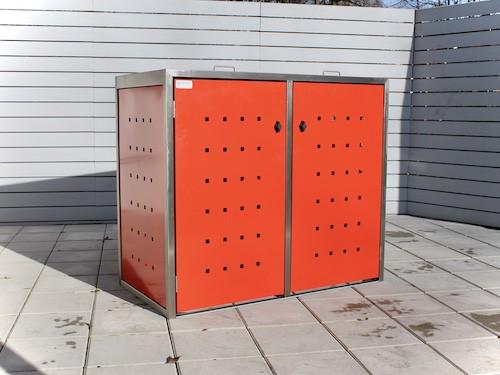 2er Mülltonnenbox Edelstahl ECO-MAX rot