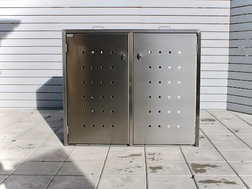 2er Mülltonnenbox Edelstahl ECO-MAX