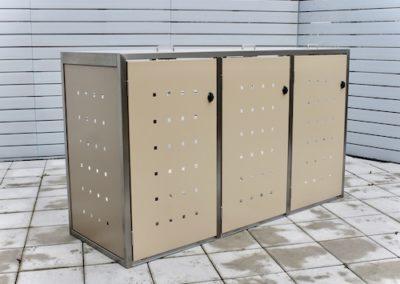 3er Mülltonnenbox Edelstahl ECO-MAX beige Klappdach offen