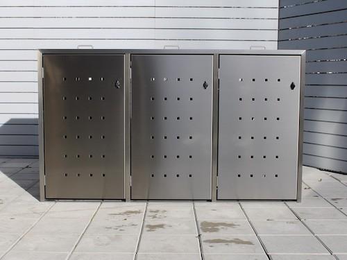 3er Mülltonnenbox Edelstahl ECO-MAX