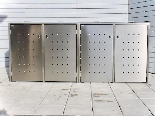4er Mülltonnenbox Edelstahl ECO-MAX