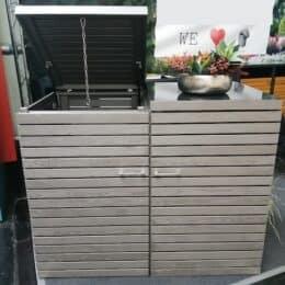 2er Mülltonnenbox mit Klappdach