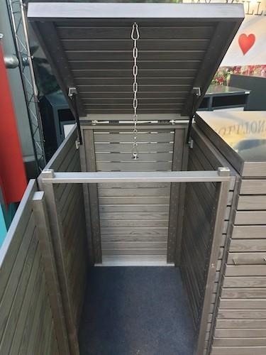 Mülltonnenbox Klappdach silber