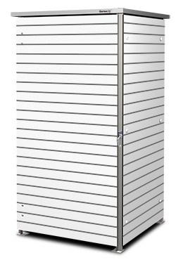 1er Mülltonnenbox Trash white schmale Steifen Flachdach
