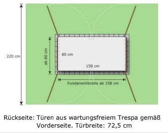 2er Mülltonnenbox Trash mit 4 Türen Skizze
