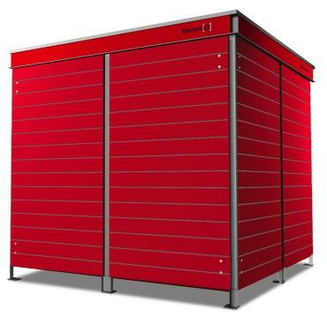 4er Mülltonnenbox Trash carmine red Pflanzdach