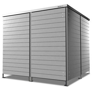4er Mülltonnenbox Trash mid grey Flachdach