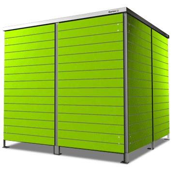 4er Mülltonnenbox lime green Flachdach