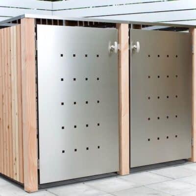 2er Mülltonnenbox Lärche mit Edelstahltüre und Flachdach