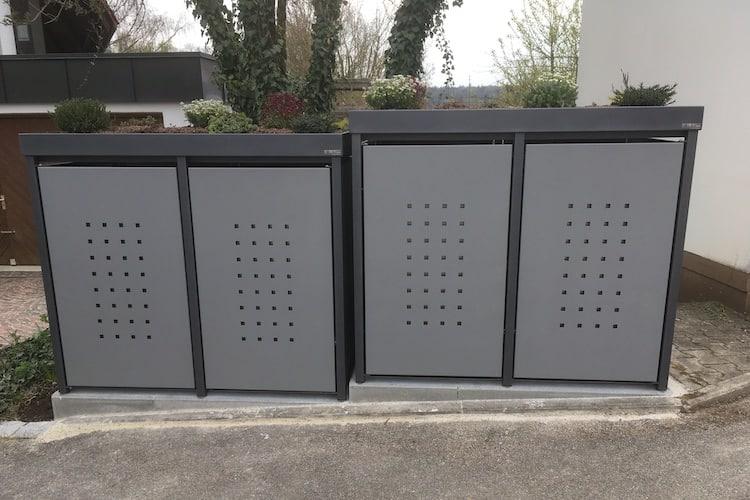 2er Mülltonnenbox Alu