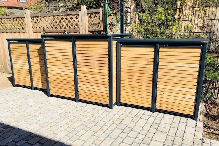2er Mülltonnenbox Alu mit Lärche Flachdach