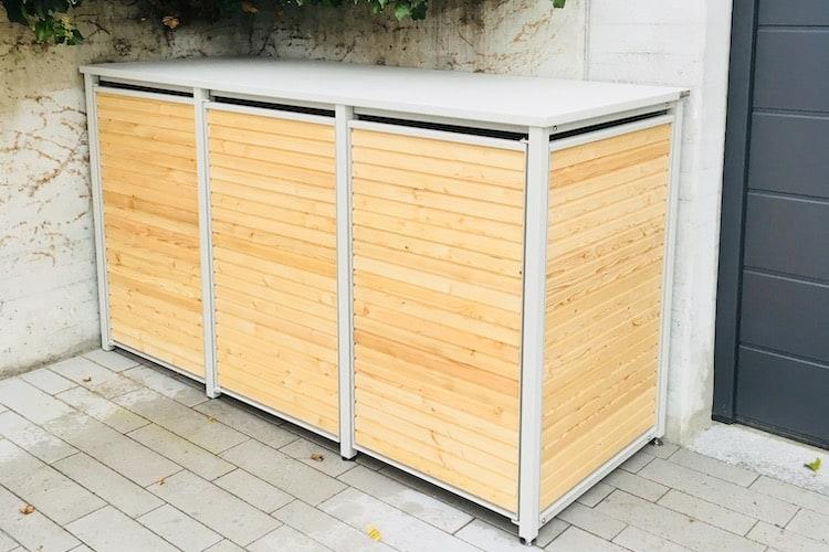 3er Mülltonnenbox Alu mit Lärche Flachdach