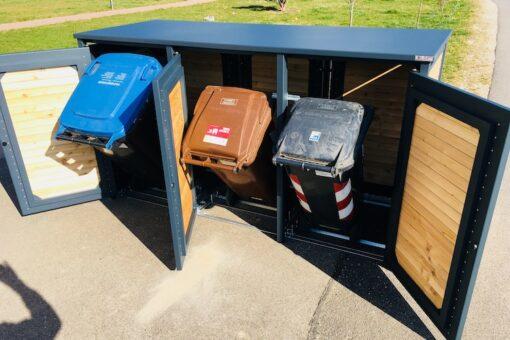 3er Mülltonnenbox Alu mit Lärche Kippvorrichtung